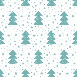 Snowflake with christmas tree vector seamless pattern