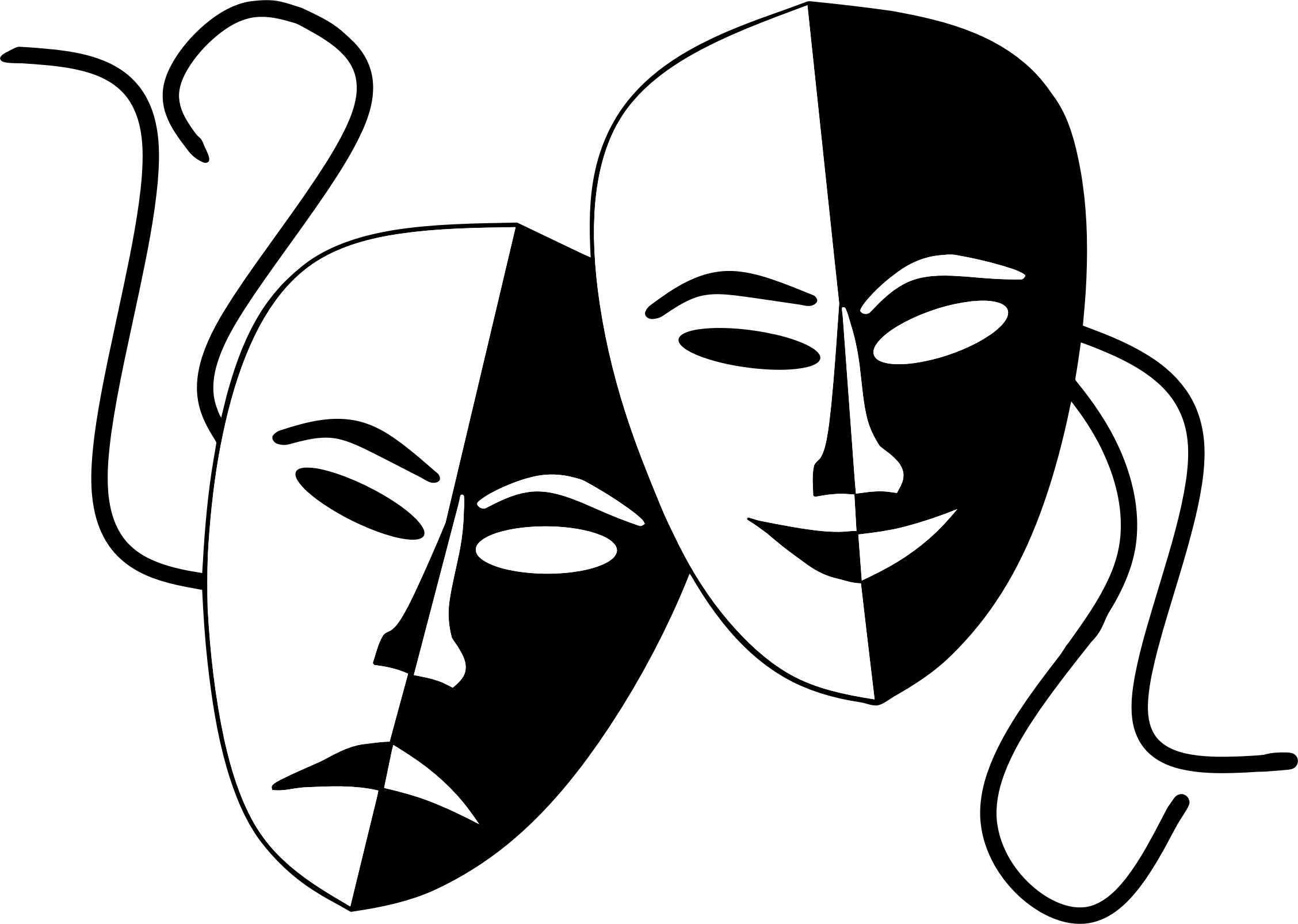 tragedy and comedy theater masks icons png