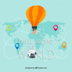 Travel background with balloon on map