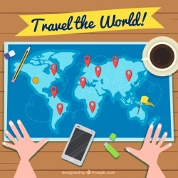 Travel background with person looking at world map