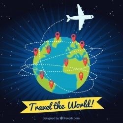 Travel background with plane and pins
