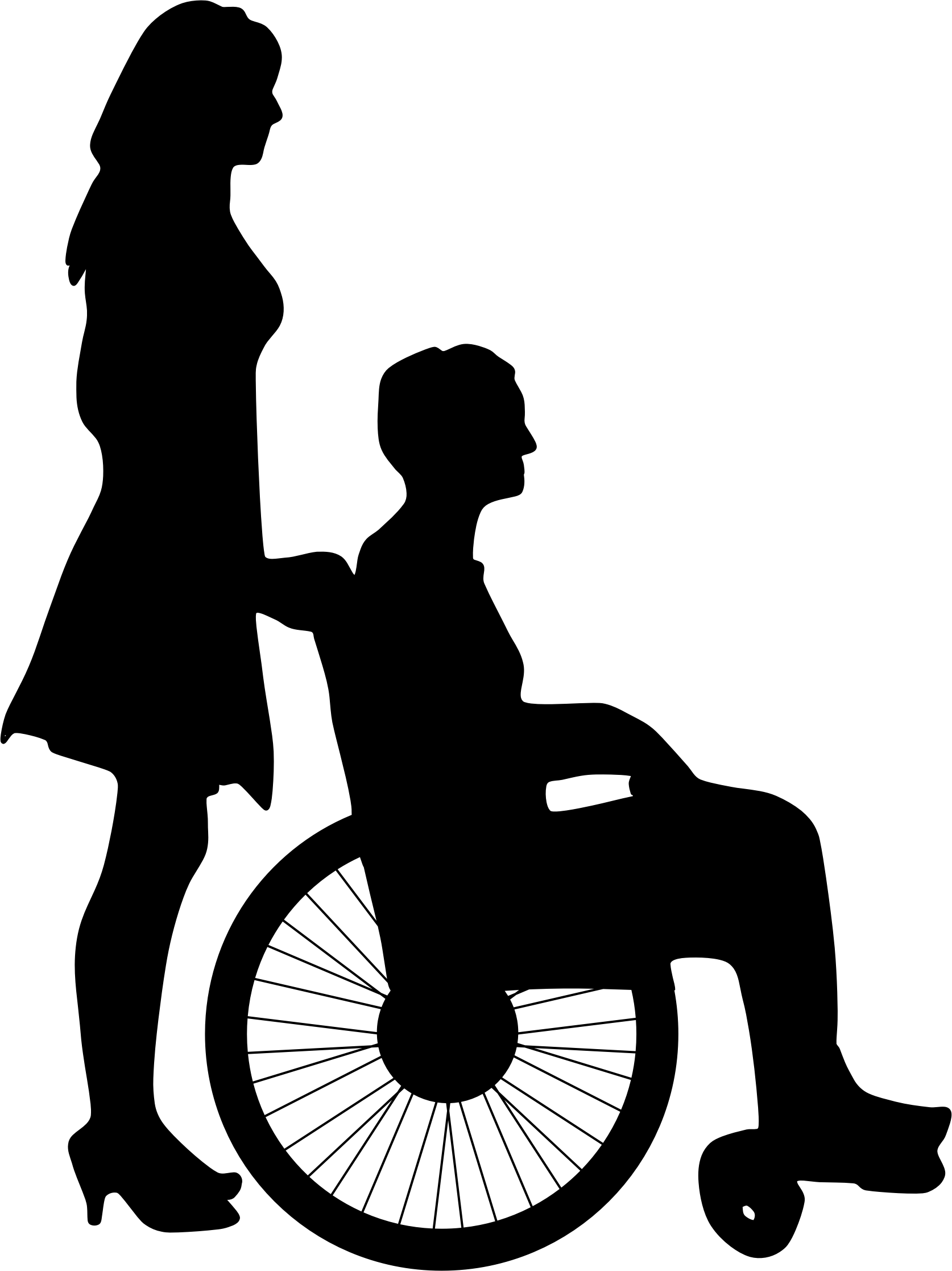 Woman Pushing Man In Wheelchair Silhouette Icons PNG