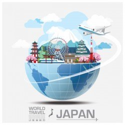 World travel of japan vector template 01