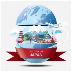 World travel of japan vector template 02