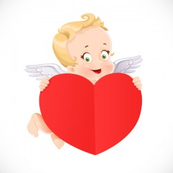 Cute Cupid with big valentine heart shaped red paper vector