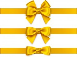 Beautiful yellow bow vector