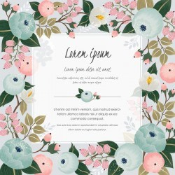 Vintage frame with retro flower vector material 05