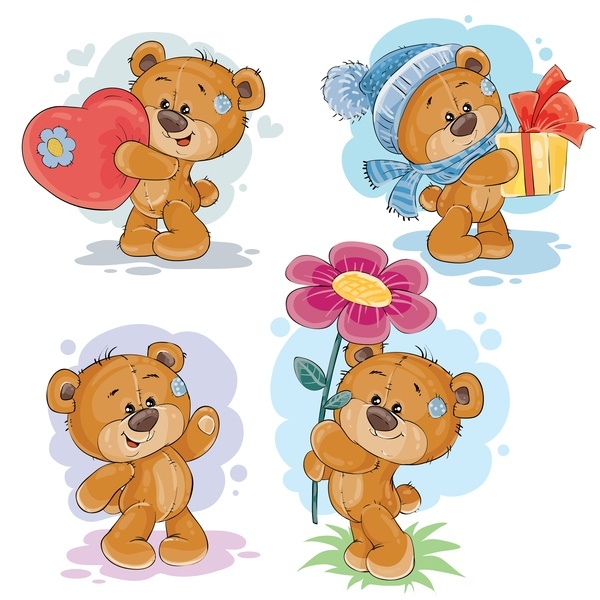 Cartoon teddy bears head drawing vector 04