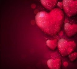Red heart with red blurs background vector 02