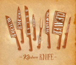 Kitchen knife poster template vector 06