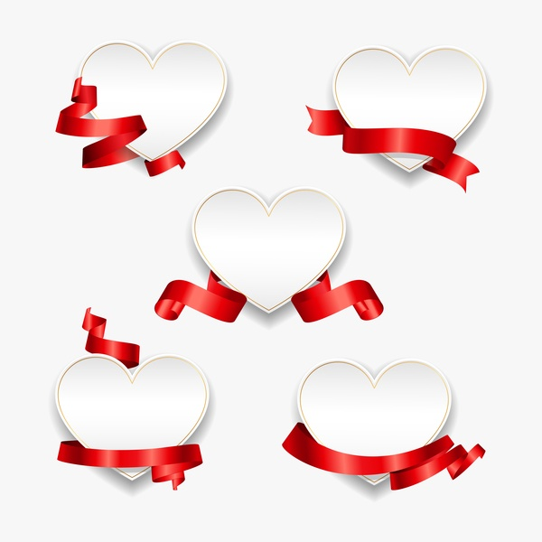 Red ribbon with heart cards vector set 04