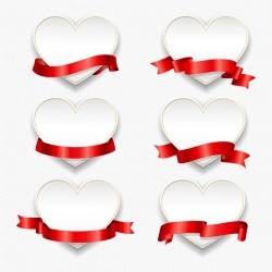 Red ribbon with heart cards vector set 09