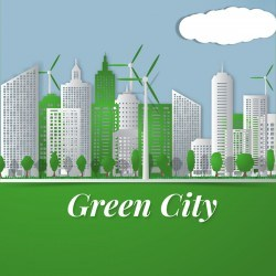 Green city template vectors material 01