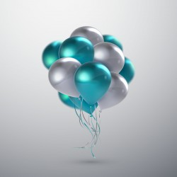 Silver and green balloon background vector