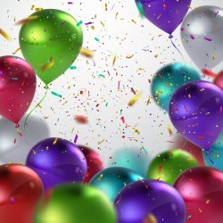 Colorful balloon and confetti birthday background vector