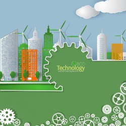 Eco technology city vector background vector 02