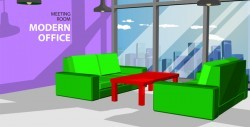 Violet wall in the office and small red table vector