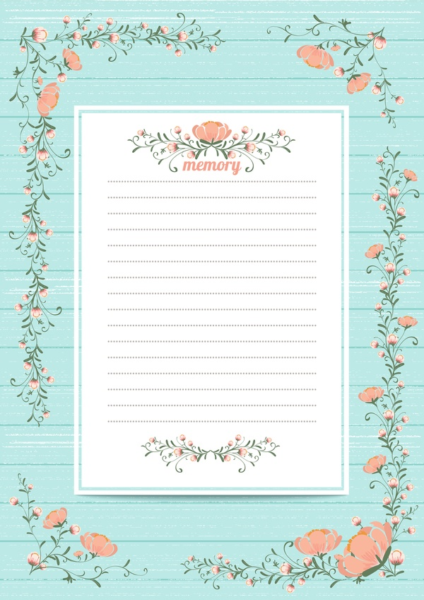 Blank paper with flower background vector 02