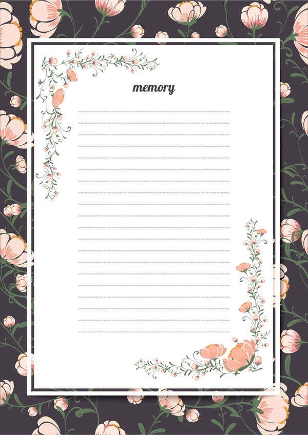 Blank paper with flower background vector 05