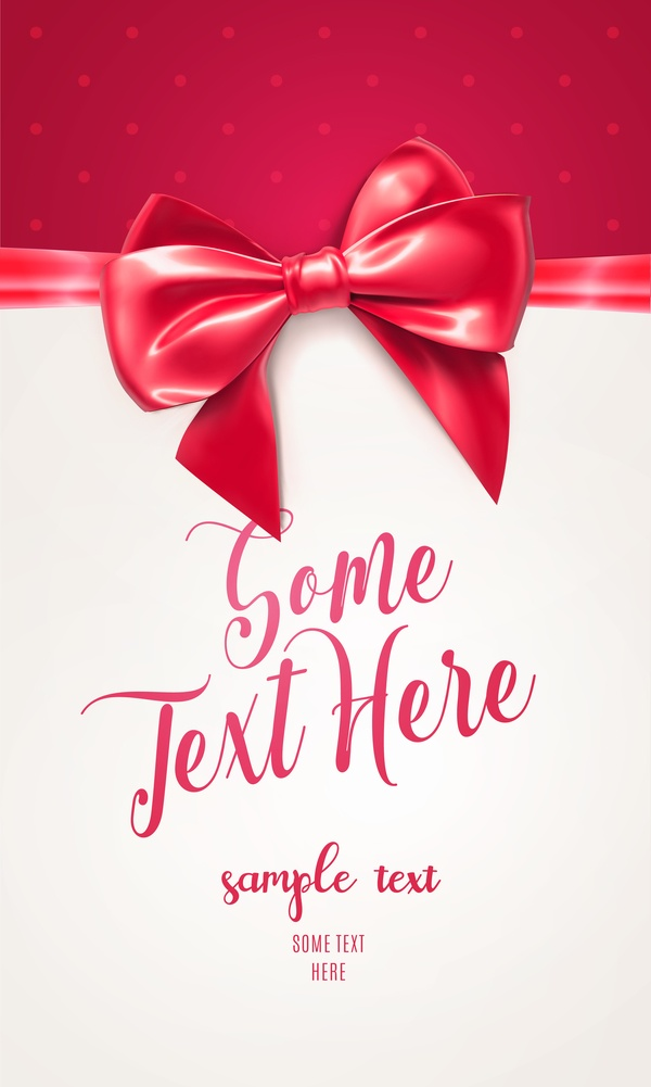 Red with white gift card and bow vector