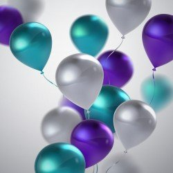 Purple and silver with green balloon background vector