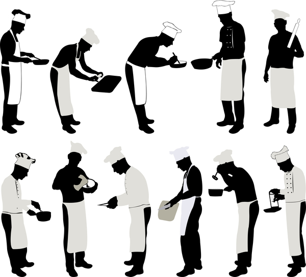 Chef silhouette vector set