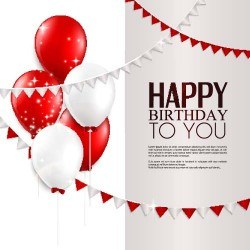 Birthday background with red and white balloons vector