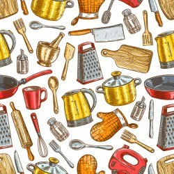 Vintage cooking pattern seamless vectors 07