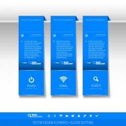 Blue tabs hanging banner vector