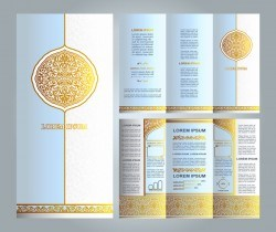 islamic floral brochure light blue and gold vector