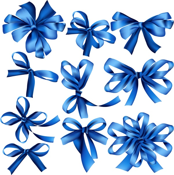 Beautiful blue ribbon bow vector