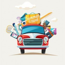 Travel by car in summer holiday vector
