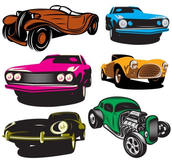 Colored retro car vector material