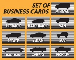 Set of business car vector material