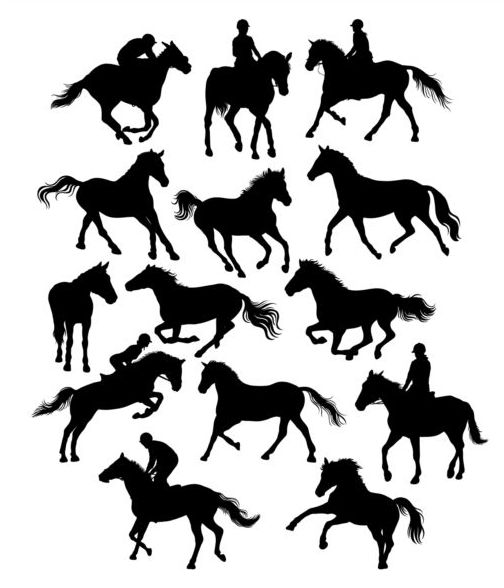 horseman with horse silhouette vector set 01