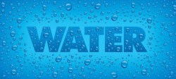 water text with drops vector background