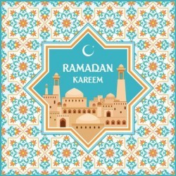 Ramadan pattern with greeting card vector 06