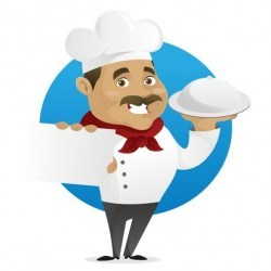 Funny chef cooking sign vector design 04