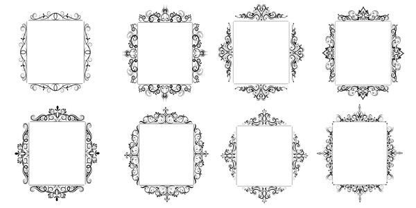 Black baroque decor frame retro vector 02