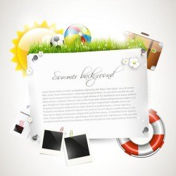 Vector travel background with summer holiday elements 03