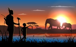 african landscape with wild animal vector
