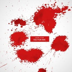 Red ink stains and paint vector background 07