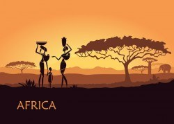 Africa women with sunset landscape vector