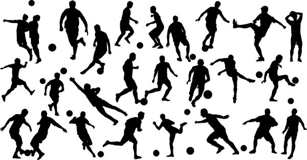 Set of football play silhouette vector 02