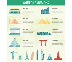 World travel infographic template vector 02