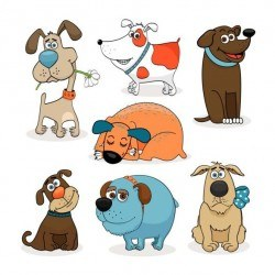 Different dogs cartoon vector set