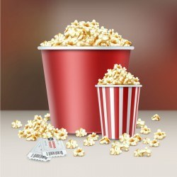 Popcorn and movie tickets vector