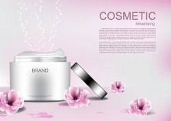 Cosmetic advertising poster with pink flower vector 05