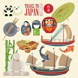 Japanese travel sights with traditions cultural vector 06