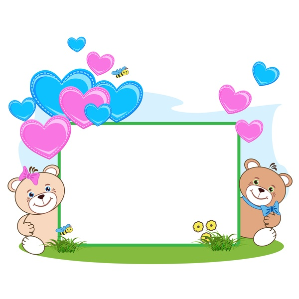 Teddy bear with heart frame cartoon vector 04